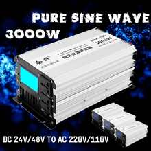 Inverter pure sine wave 1500W 3000W Peaks 12v/24v/48v to AC110v/ 220v LCD display Inverter power supply