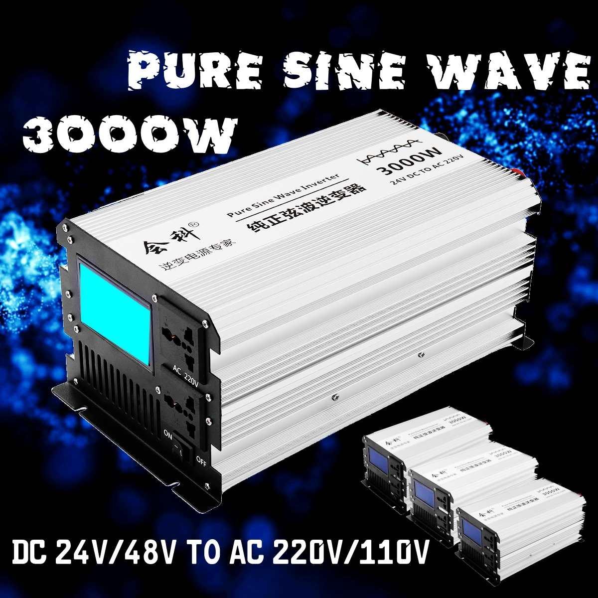 Onduleur onde sinusoïdale pure 1500 W 3000 W pics 12 v/24 v/48 v à AC110v/220 v LCD affichage onduleur alimentation