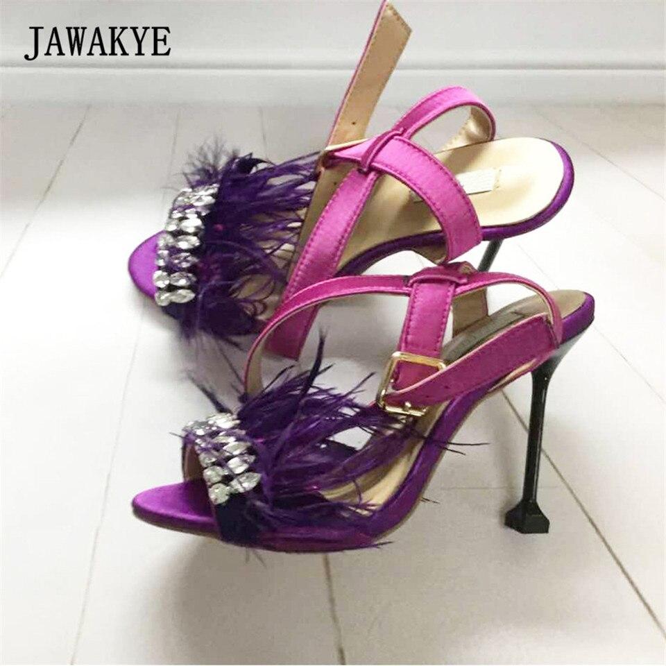 purple Cuir Fourrure San Femmes Es Plate Wedge Marque forme Chaussures Mode Sandales D'été Black pink Talon Strass En Plume Haute Violet w0p1wxRPzq