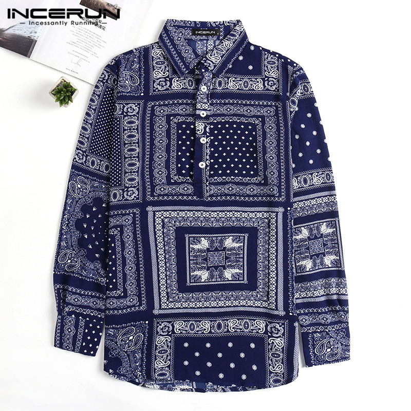 Streetwear Harajuku Men Shirts Long Sleeve Autumn Tee Shirts Ethnic  Shirts Casual Hawaiian Camiseta Hombre Loose Fit Hiphop