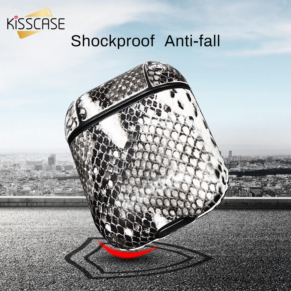 KISSCASE Snake Skin Earphone Case For Airpods Case Bluetooth Earphone Protective Cover For Apple Airpods Headset Accessories