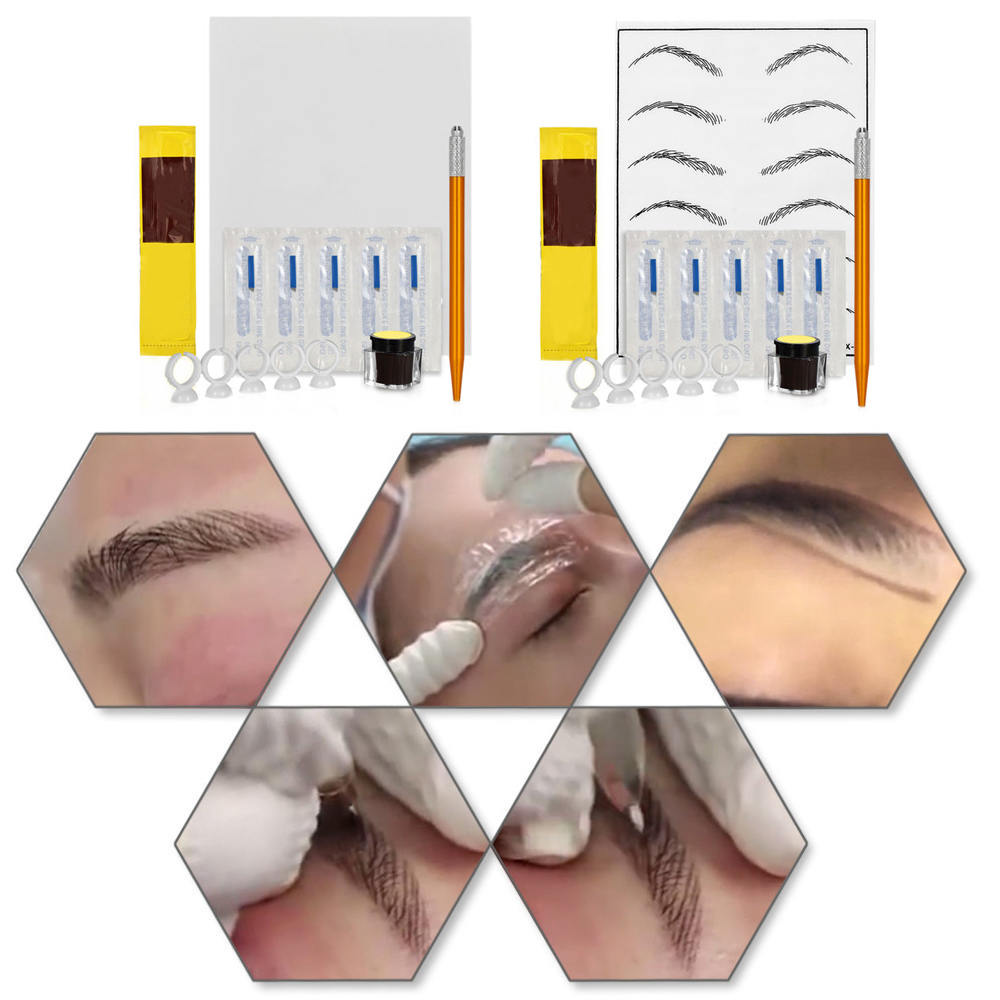 3D Permanent Eyebrow Tattoo Practice Kit Disposable Microblading Eyebrow Pen Set Manual Eyebrow Pen Cosmetic Tools
