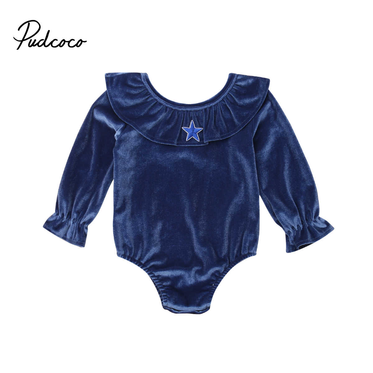 ec6fc76a8 2019 Brand New Newborn Kids Baby Girl Velvet Romper Long Sleeve Ruffled  Neck Jumpsuit Playsuit Solid Clothes Outfit Playsuit