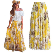Fashion Women Ladies Chiffon High Waist Summer Floral Print Beach Skirt Maxi Long Skirts Sundress цена