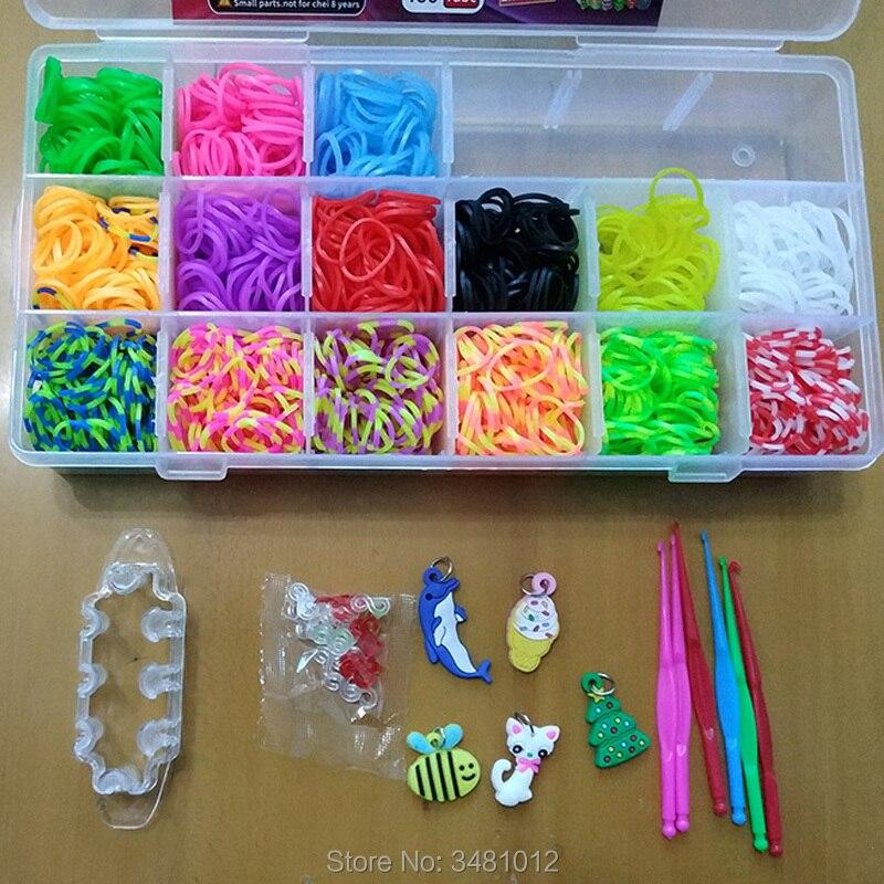 1500 pçs de borracha colorida tear bandas elástico diy conjunto caixa meninas presente tecelagem pulseira ferramenta kit crianças brinquedos para crianças 7 8 10 anos