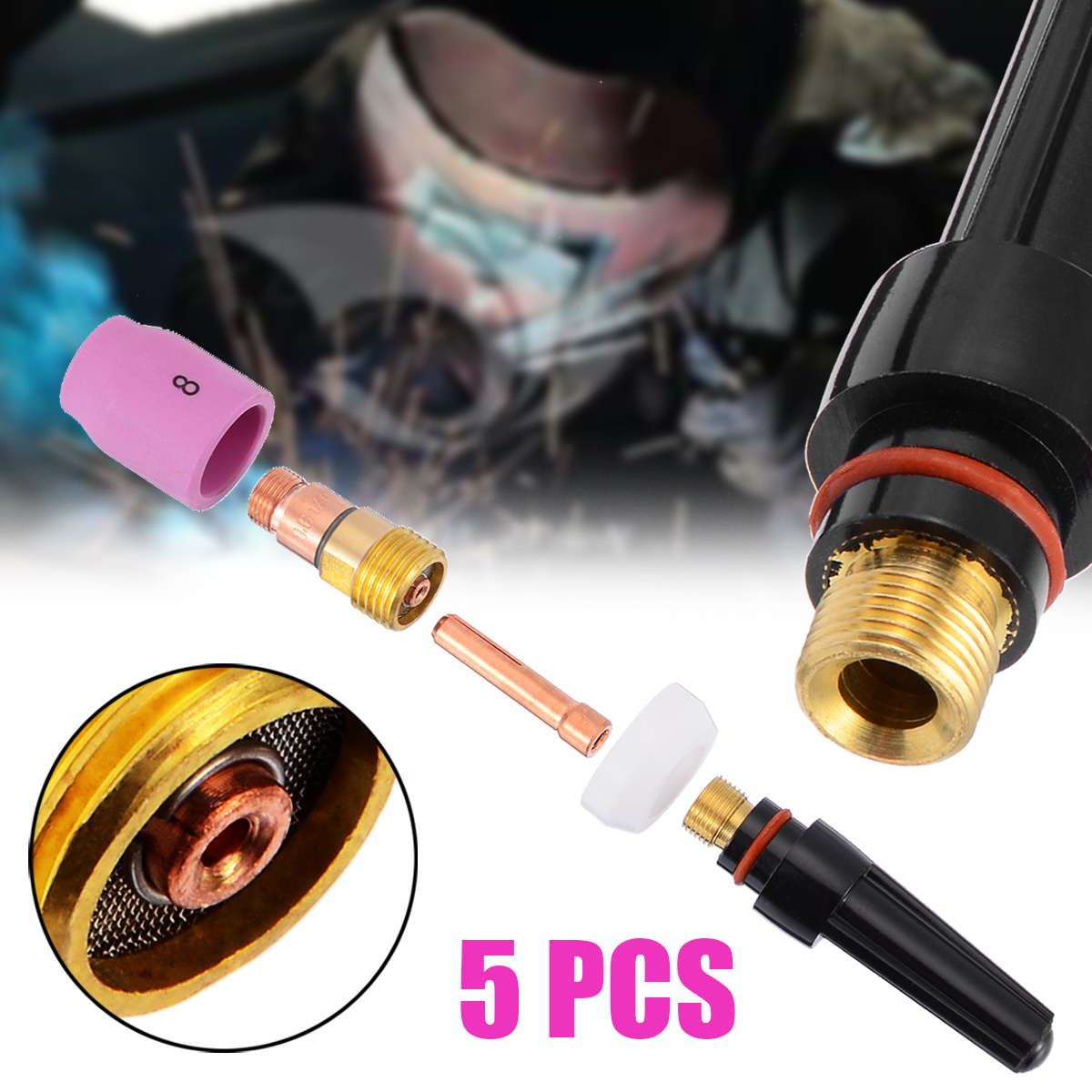 Durable 5pcs/set Welding Torch Stubby Cup Gas Collet Body Lens Kit For Tig WP-17/18/26 1.6mm