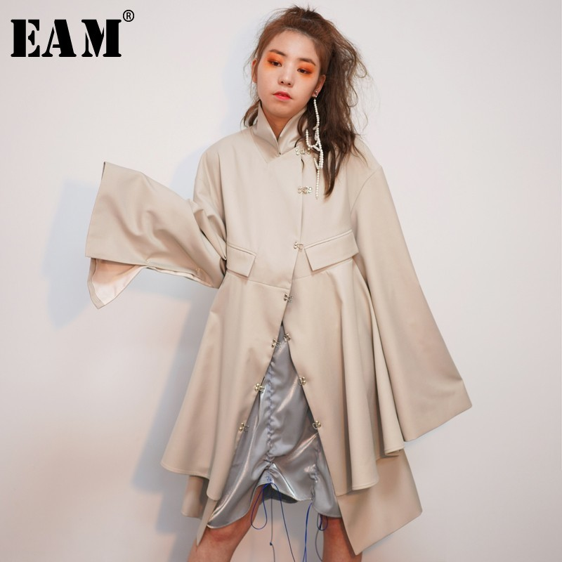[EAM] 2019 New Spring Winter Lapel Long Sleeve Backless Hollow Out Irregular Hem Big Size Windbreaker Women   Trench   Fashion JO345