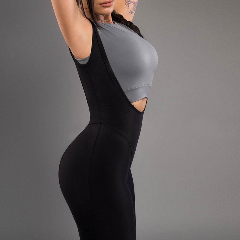 Women Straps Active Stretch Elastics Solid Bodycon Beach Backless Jumpsuit