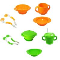 4pcs Baby Feeding Cutlery Set Baby Food Supplement Training Spoon Sucker Bowl Fork Suction Baby for Toddlers
