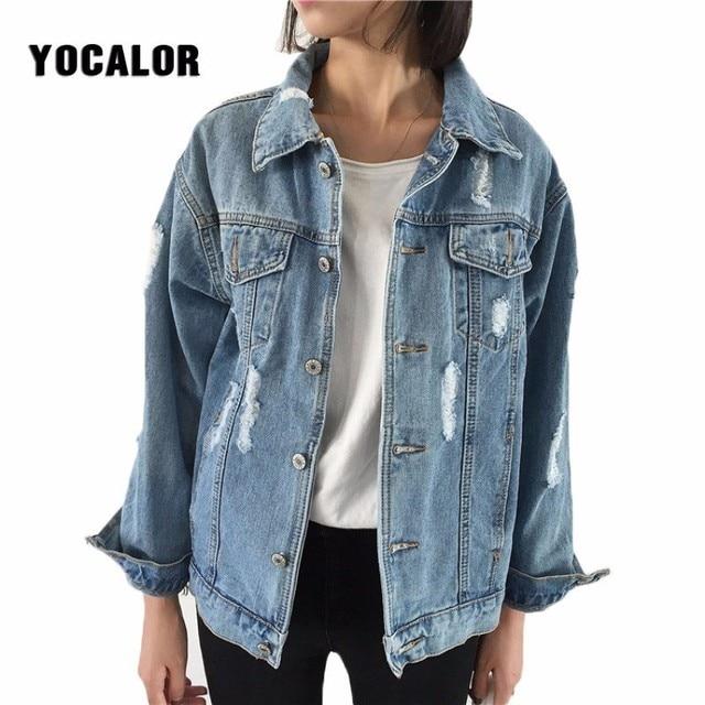 2018 grundlegende Mantel Weiblichen Frühling Herbst Jeans Denim Jacke Für Frauen Lange Lose Jean Jacken Große Größen Freund College Outwear