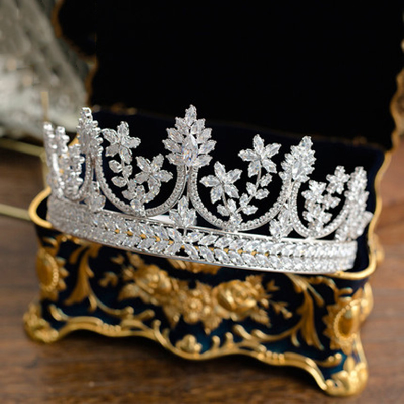 All Cubic Zirconia Tiara Bride Zirconia Luxury Crown Jewelry Headband Hairband Bridal Hair Accessories Wedding Princess