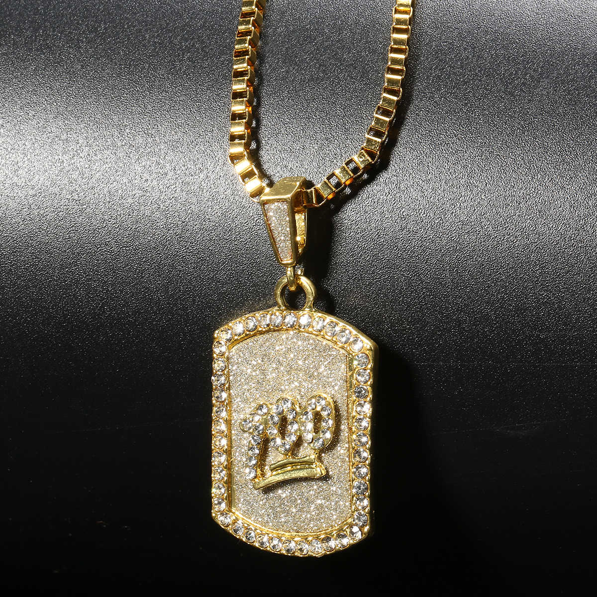 Shellhard Luxury Rhinestone Dog Tag Necklace Gold Color Crystal Emoji 100 Points Pendant Necklace Men Hip Hop Jewelry
