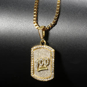 Shellhard Pendant Necklace Jewelry Crystal Rhinestone Hip-Hop Emoji Gold-Color Luxury