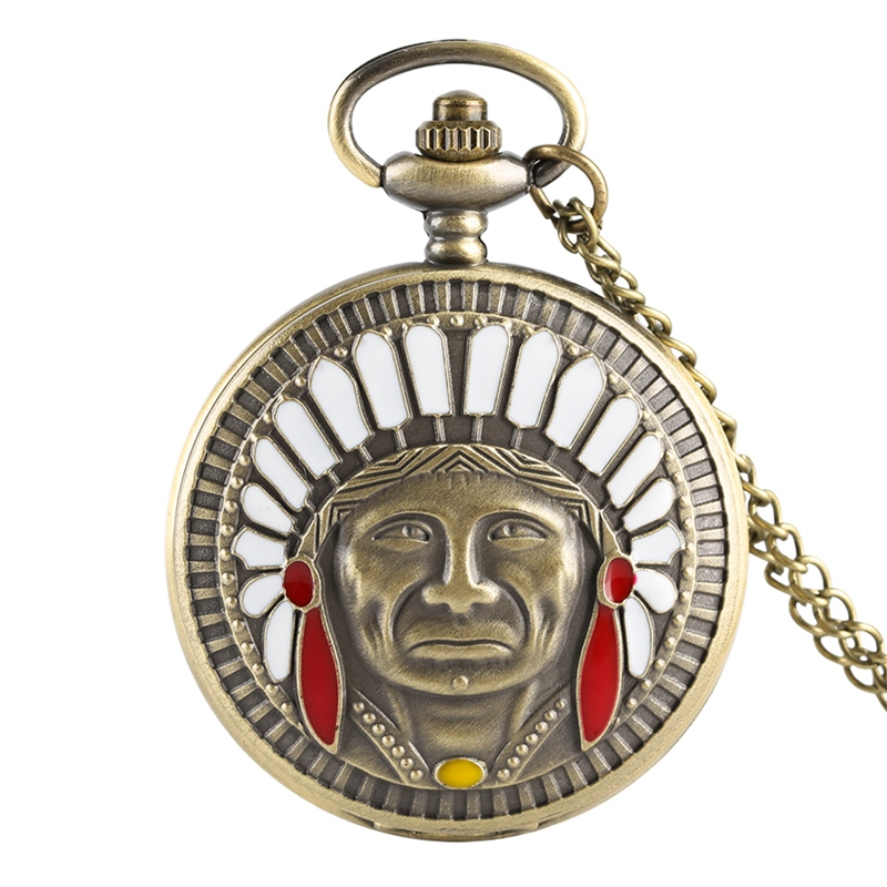 Retro Bronze Ancient Indian Old Man Pocket Watch Fashion Portrait Design Fob Watch Pendant Necklace Chain Top Gift Collectibles
