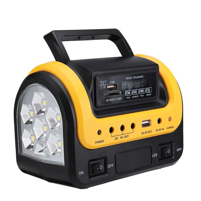 Portable Solar Panel Power Generator LED Lighting System Kit MP3 Flashlight USB Charger 3 LED Bulbs Outdoor Emergency Power 4