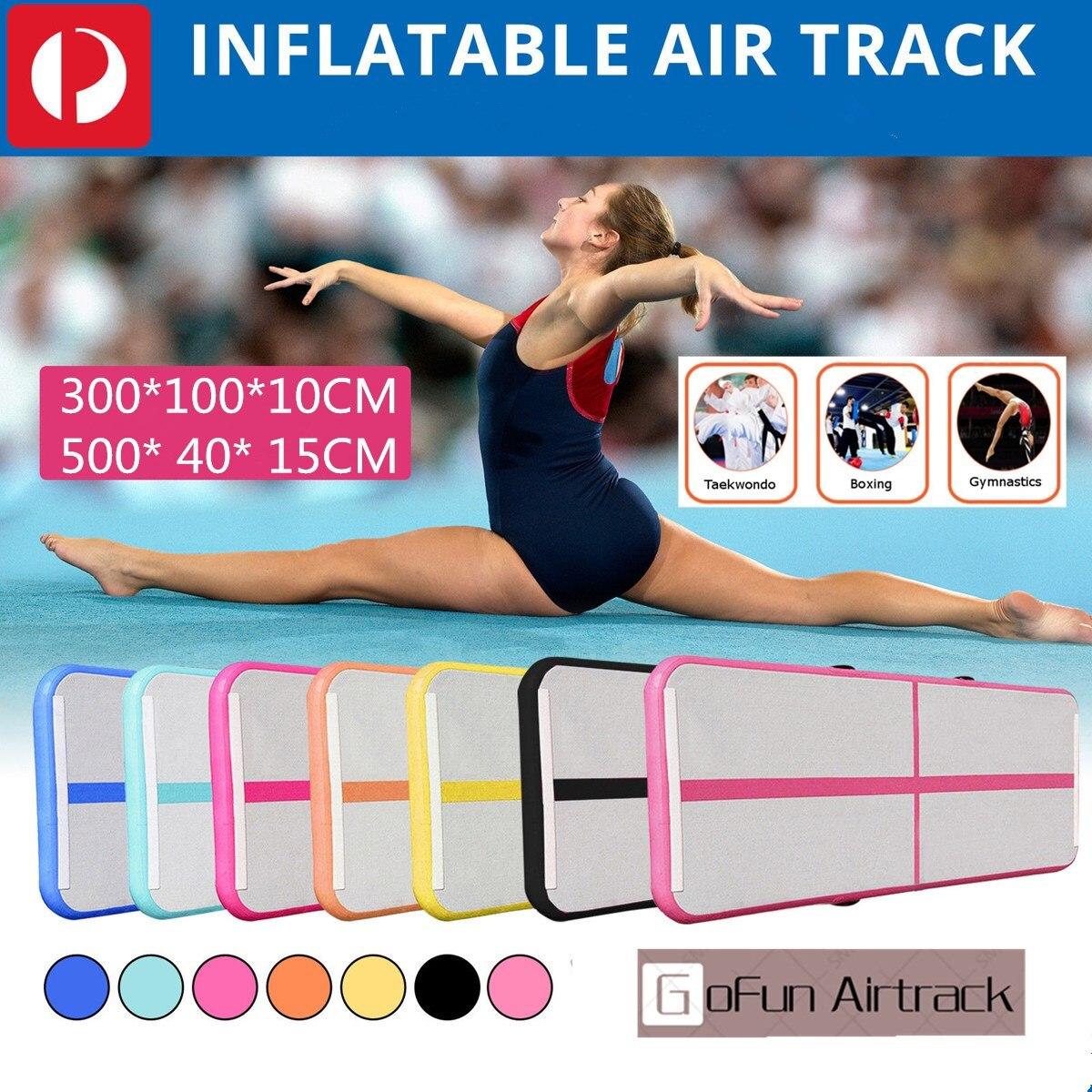 Gonflable Gymnastique AirTrack Tumbling Air Piste Plancher Trampoline compresseur électrique pour un Usage Domestique/Formation/Cheerleading/Plage