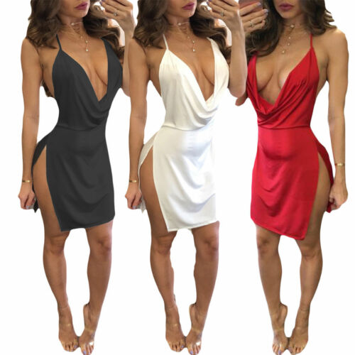 Hot Evening Party <font><b>Sexy</b></font> Hanging Neck Deep V Neck Bandage Bodycon Women Summer Sleeveless Casual <font><b>Short</b></font> Mini <font><b>Dress</b></font> image