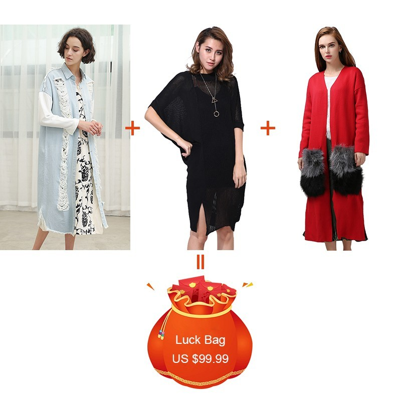 TWOTWINSTYLE 3 Pieces/lot Clearance 2019 Hole Patchwork Denim Coat Batwing Sleeve Knitted Dress Knitting Cardigan Women Sets
