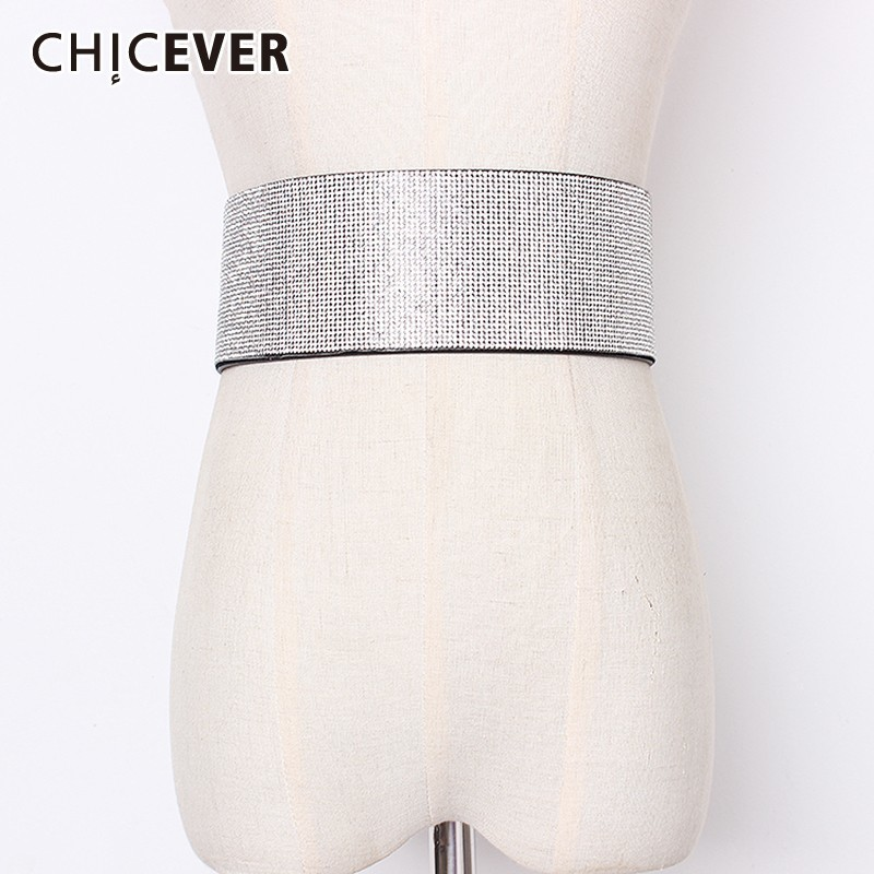 CHICEVER Summer Flash Diamond Patchwork Pu Leather Dark Buckle Belt For Women Belts Female Style 2019 Fashion New Tide