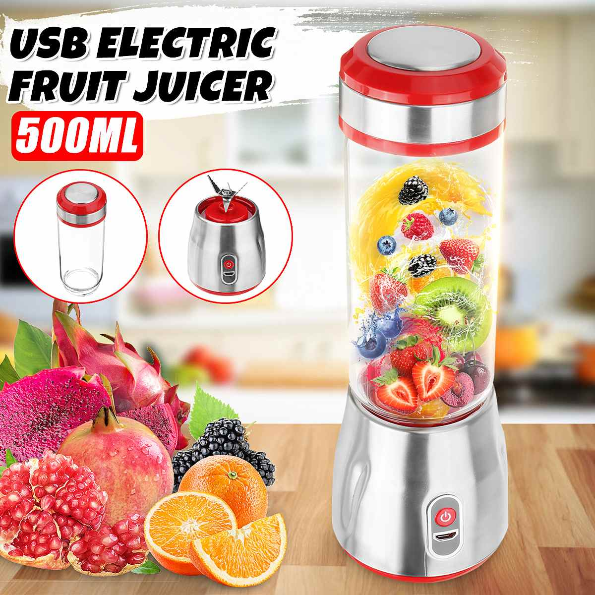 500ml Portable USB Electric Fruit Juicer Cup Machine Milkshake Smoothie Blenders Maker Juice Shaker Extractor Mixer Squeezer500ml Portable USB Electric Fruit Juicer Cup Machine Milkshake Smoothie Blenders Maker Juice Shaker Extractor Mixer Squeezer