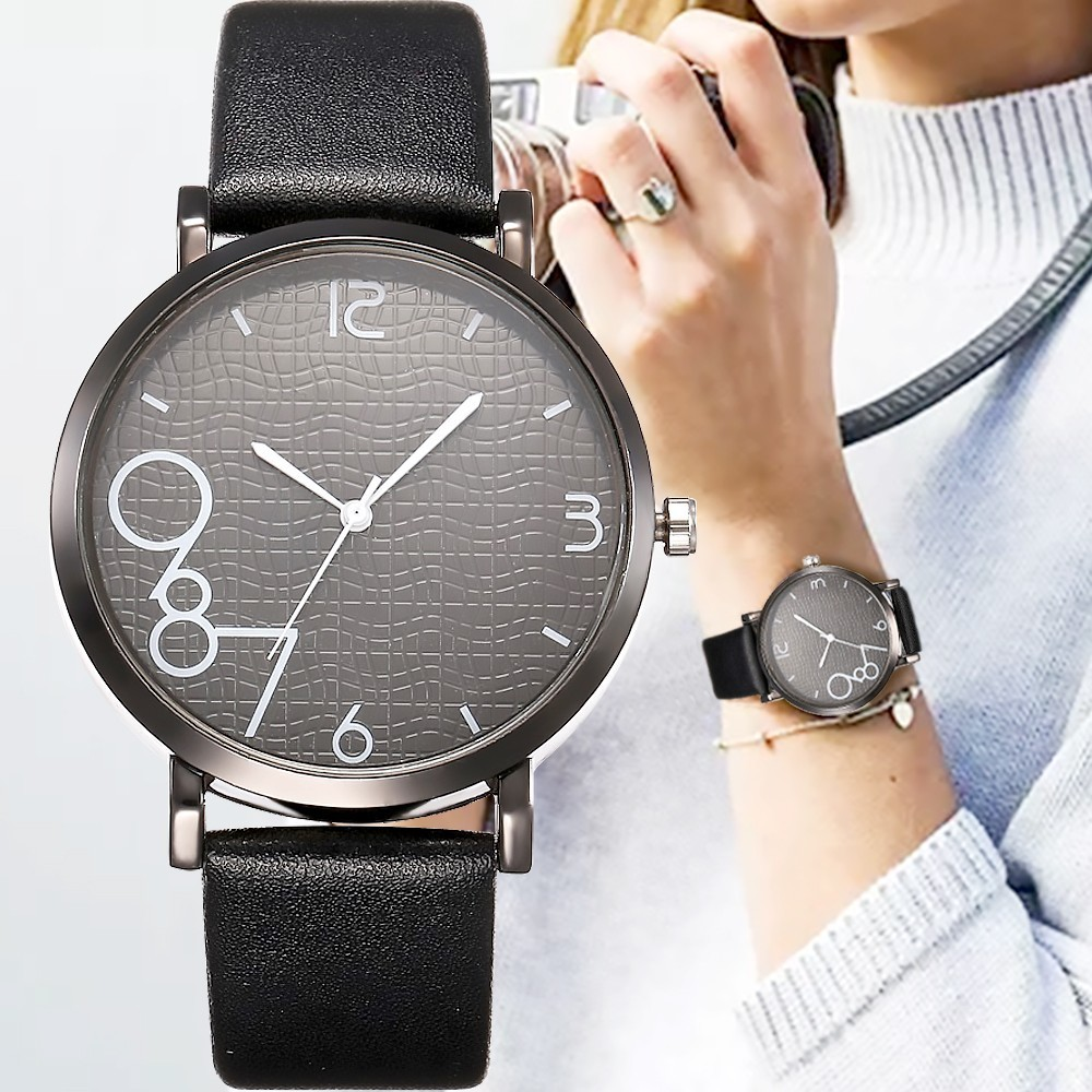 New Style Fashion Women's Luxury Leather Band Analog Quartz WristWatch Golden Ladies Watch Women Dress Reloj Mujer Black Clock