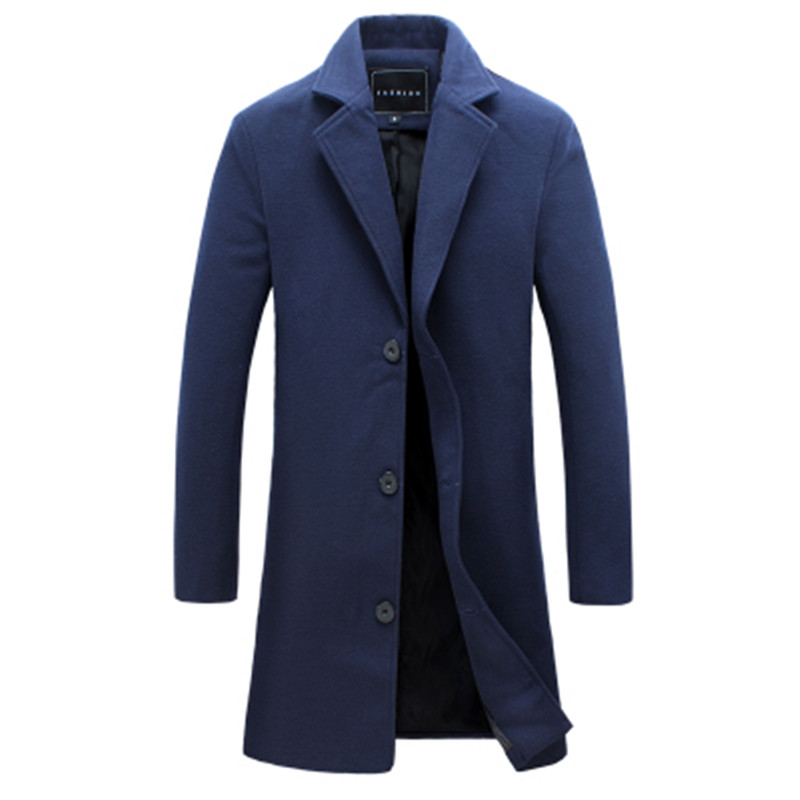 2018 Winter New Fashion Men Solid Color Single Breasted Long Trench Coat / Men Casual Slim Long Woolen Cloth Coat Large Size 5XL