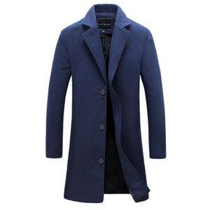 Image 1 - 2020 冬の新ファッションメンズ無地シングルブレストロングトレンチコート/男性カジュアルスリムロング毛織物のコート大サイズ 5XL