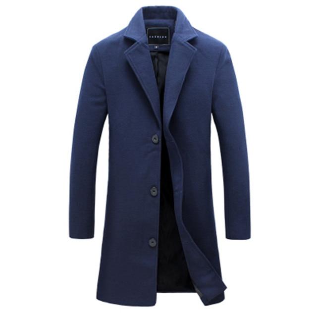 2020 冬の新ファッションメンズ無地シングルブレストロングトレンチコート/男性カジュアルスリムロング毛織物のコート大サイズ 5XL