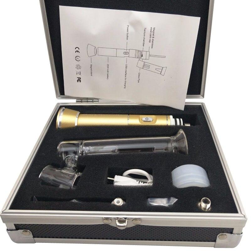 Enail 510 clou herbe sèche cire vaporisateur tuyau d'eau Dab barboteur Pipe à fumer avec 510 boîte de fil 2500 mah Mod batterie Dabber outil 0