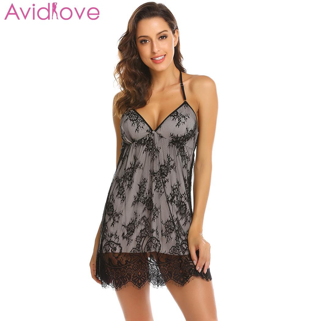0234a1be8b0 Women sexy nightgown lace plus size sexy lingerie sleepwear chemise  g-string lingerie summer night