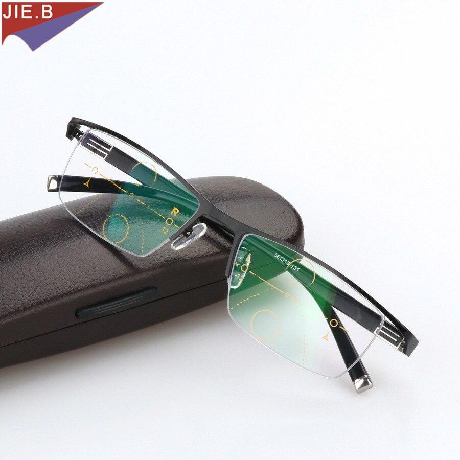 Liga de titânio Smart Zoom Asymptotically Óculos Multifocal Progressiva Hipermetropia Presbiopia Óculos De Leitura Meia Borda Comercial