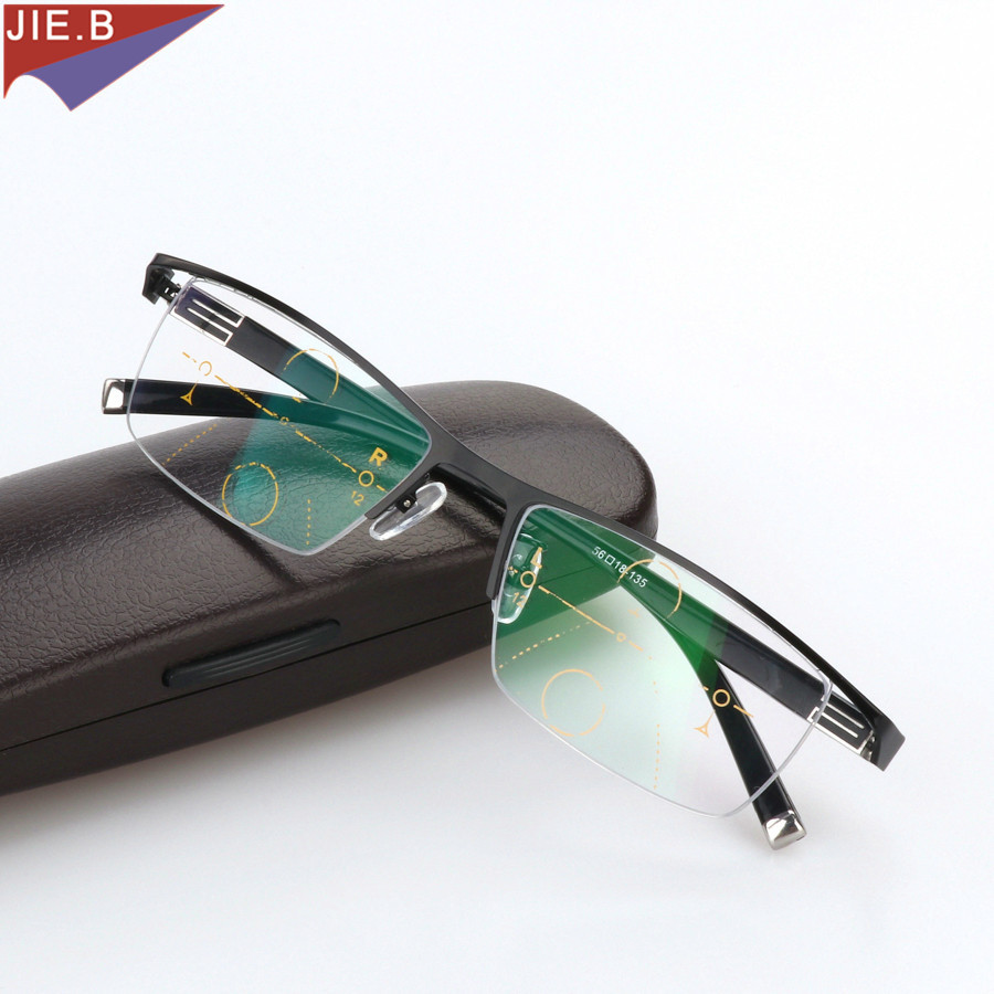 Titanium Alloy Smart Zoom Asymptotically Progressive Reading Glasses Half Rim Commercial Presbyopia Hyperopia Multifocal Glasses