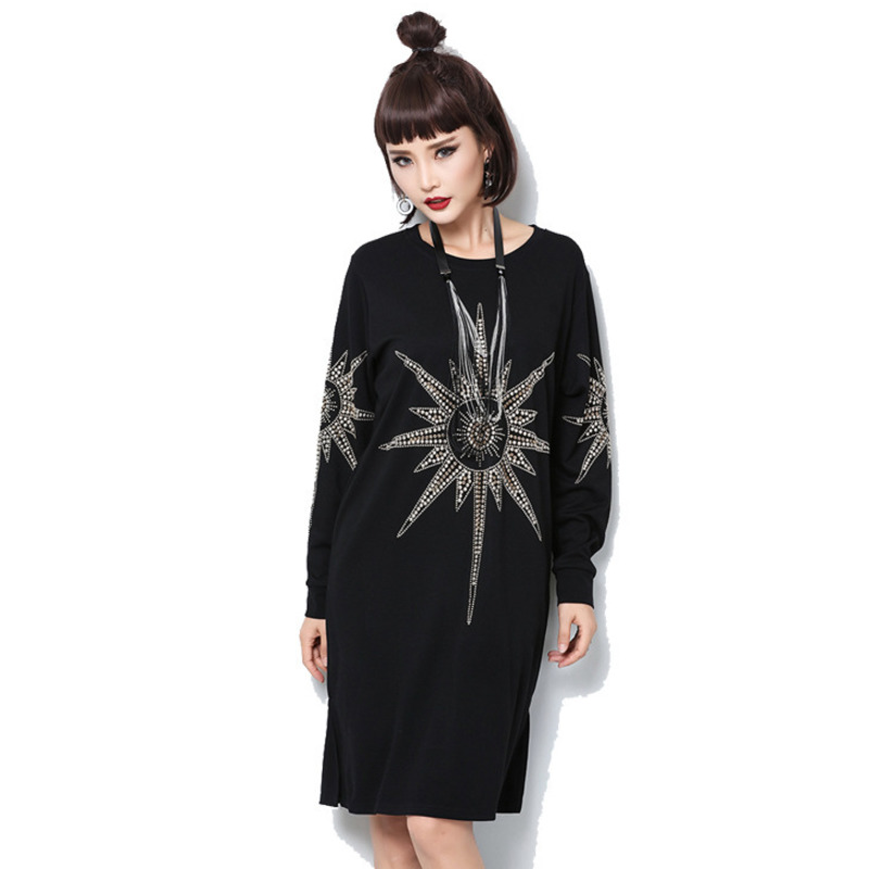 OLOEY 2018 Autumn Spring New Europe Full Sleeve Loose Big Sizes Embroidery  Rivet Slim Women Dress 7bd8d42fdc27