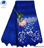 Beautifical guipure lace fabric dubai wedding lace fabric wholesales latest african laces 2018 blue color clothes made MX41G16
