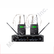 Pro SKM9000 2x100 Channel Karaoke Wireless Microphone System Stage Performance Singing 2 beige Headset Mic