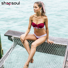 Knot Bandage Bikini Push Up Swimwear Women Bandeau High Wasit Sexy Swimsuit Leg Cut 2019 Bathing Suit Female
