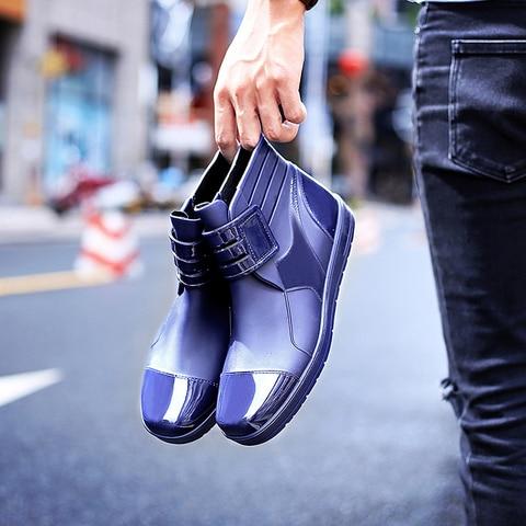 EXCARGO Men Ankle Boots Rainboots PVC Waterproof Shoes For Men 2019 Summer Fashion Hook Loop Male Rain Boots Rubber Shoes Lahore