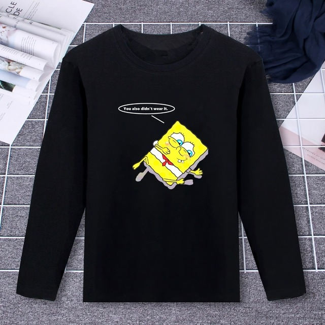 733c3f53a2 US $14.3 45% OFF|New Couple Clothes Long Sleeve T Shirt Lazy Spongbob and  Patrick Star Design Art Print 100% Cotton Top Tee Casual O Neck -in  T-Shirts ...