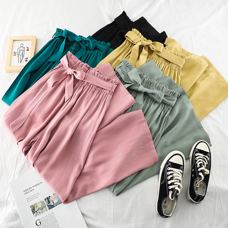 2019 Spring Summer New Women   Wide     Leg     Pants   High Waist Belted Loose Trousers Candy Color   Pants