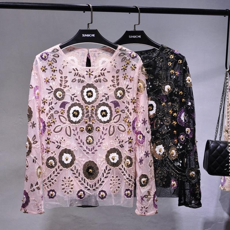 Femmes de luxe piste pailletée Blouse hauts transparent Sexy o-cou maille Blusas chemise à manches longues coloré Floral dame fête Blousesdz036