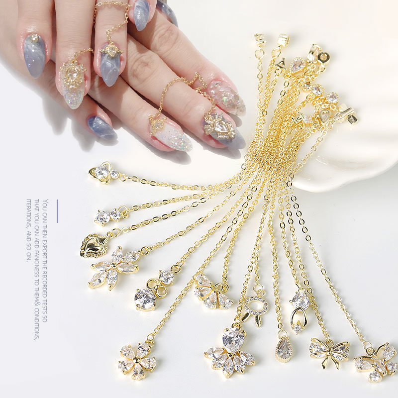 f74043462b 2 pieces water drop Crystal Dangle Chain Charms Nail Jewelry Decorations 13  type luxury Zircon Crystal Rhinestones For Nails