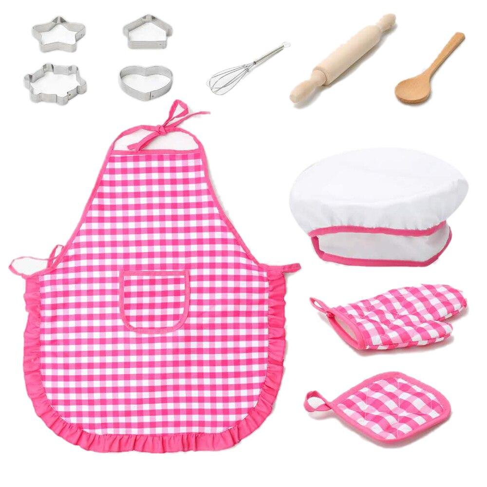 New 11Pcs/set Kids Simulation Kitchen Toys Baby Girl Baking Tools w/Apron