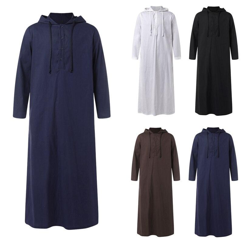 2021 мужской исламский арабский мусульманский кафтан с длинным рукавом, халаты с капюшоном, Саудовская Аравия, Дубай, джубба Тобе, Мужская мус...