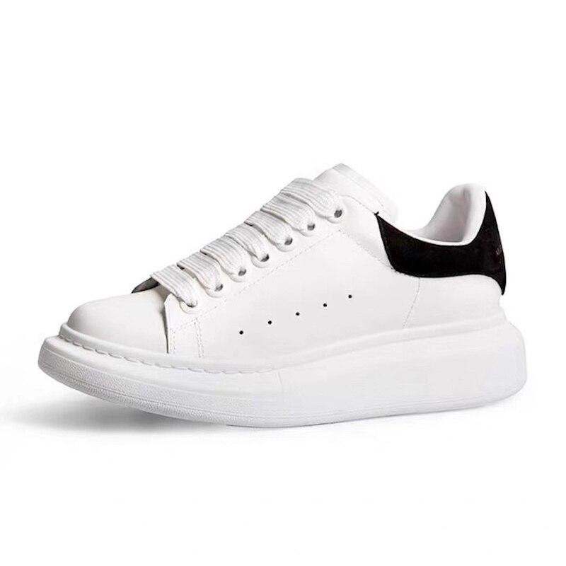 2019 nouveau printemps automne cuir baskets femmes appartements populaires Ins Mode blanc blogueuses grande taille Chic femmes chaussures
