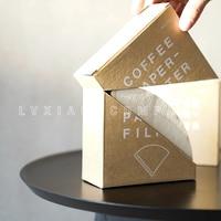 Watchget design filtro de papel com suporte 100 peças de madeira/papel branqueado mão v60 gotejamento filtro de café de papel