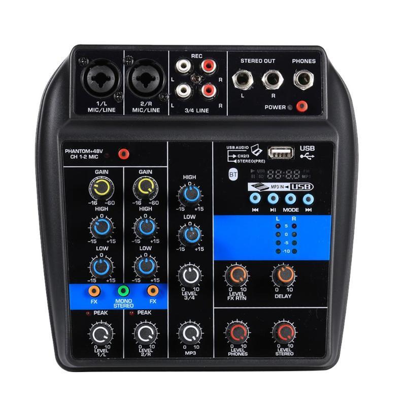 VODOOL S-1 4 canaux Bluetooth Console de mixage Bluetooth USB lecteur d'ordinateur numérique mélangeur Audio + alimentation fantôme 48 V