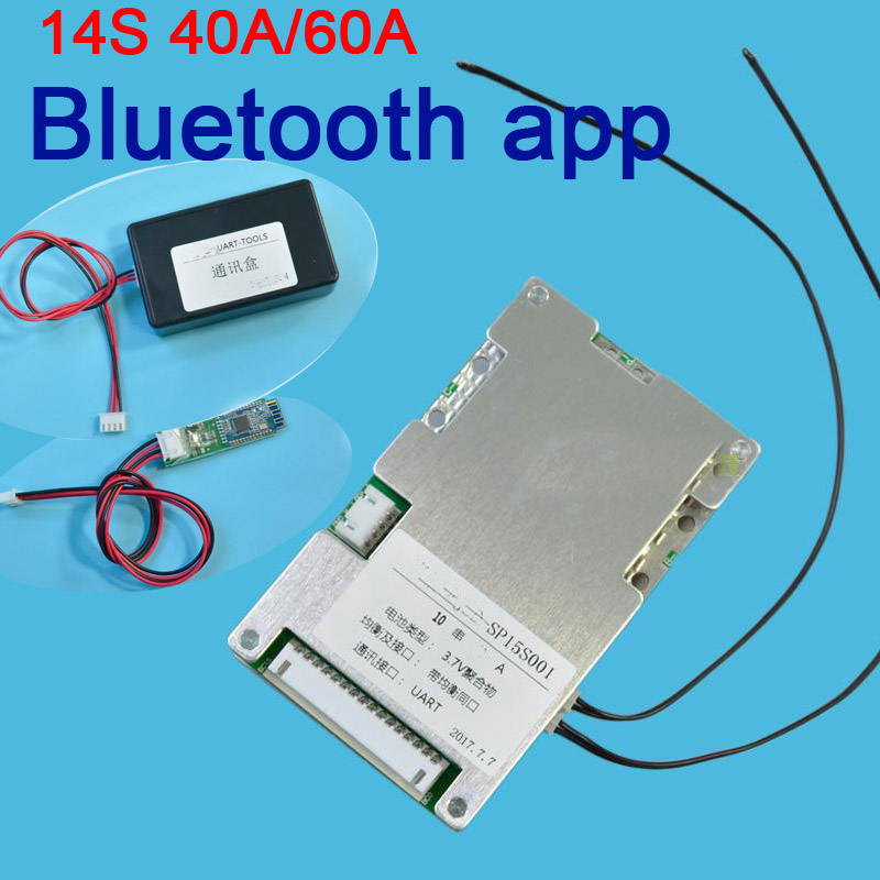 14S 48V 40A/60A 18650 Lithium battery smart protection board balance bms pcm W android Bluetooth app UART wi software monitor  14S 48V 40A/60A 18650 Lithium battery smart protection board balance bms pcm W android Bluetooth app UART wi software monitor