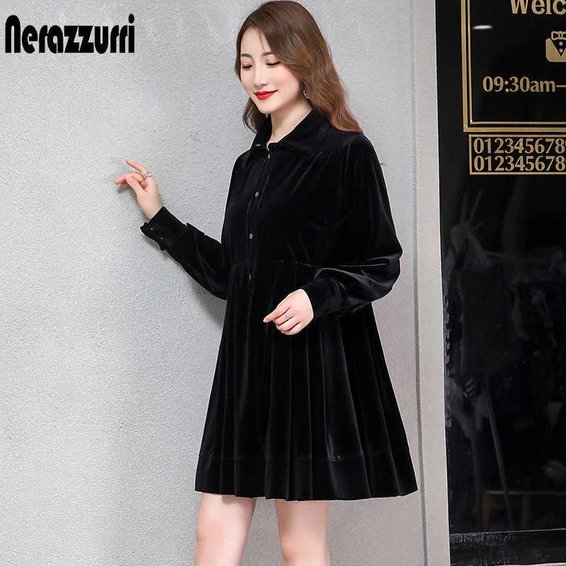 Nerazzurri бархатное платье женское Плиссированное теплое Черное зеленое велюровое платье с длинными рукавами до колена с пуговицами плюс размер платье 5xl 6xl 7xl