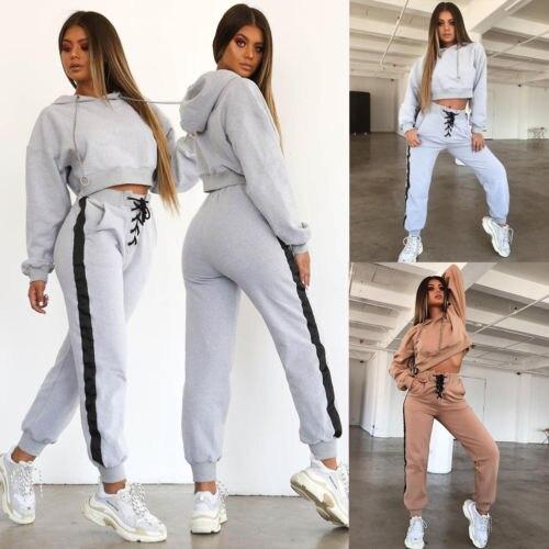 fd1008769 Hot Fashion Khaki Grey Women Hoodie Sweatshirt Hooded Jumper Pullover  Drawstring Top Lace-Up Pants Sweatsuit Tracksuit Plus Size ~ Top Deal July  2019