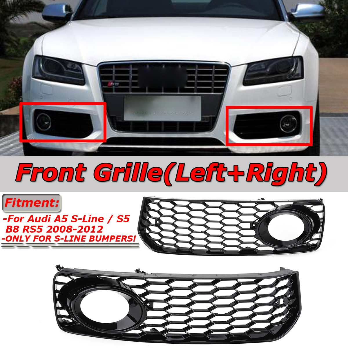 2pcs Car Fog Light Lamp Cover Honeycomb Mesh Hex Front Grille Grill For Audi A5 S-Line/S5 B8 RS5 2008-2012 Black / Chrome Silver2pcs Car Fog Light Lamp Cover Honeycomb Mesh Hex Front Grille Grill For Audi A5 S-Line/S5 B8 RS5 2008-2012 Black / Chrome Silver